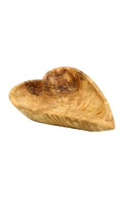 olive wood heart shaped bowl